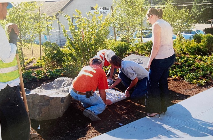 City of Kenmore and Dave installing Memorial Garden
