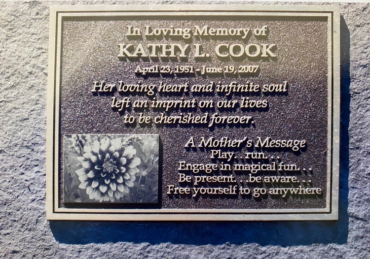 Plaque at the Memorial Garden